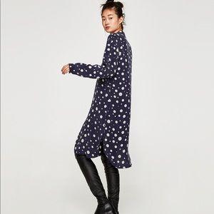 Zara navy polka dot shirt dress XS